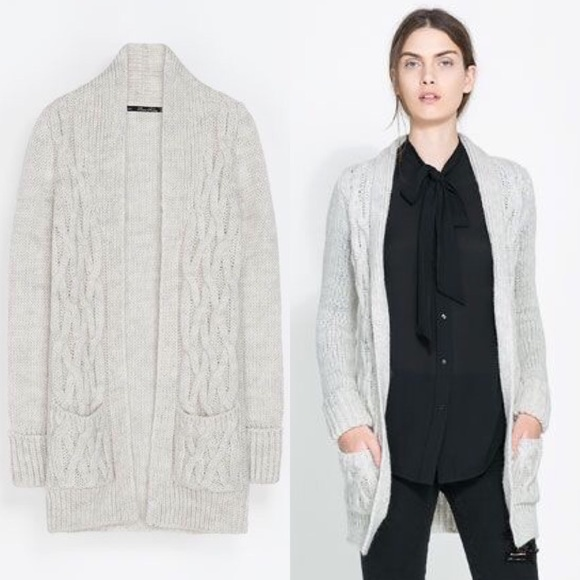 a8e5a663 Zara Sweaters | Knit Cable Knit Ivory Cardigan With Lapel | Poshmark